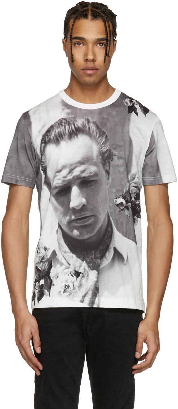 Dolce and Gabbana White Pensive Marlon Brando T-shirt