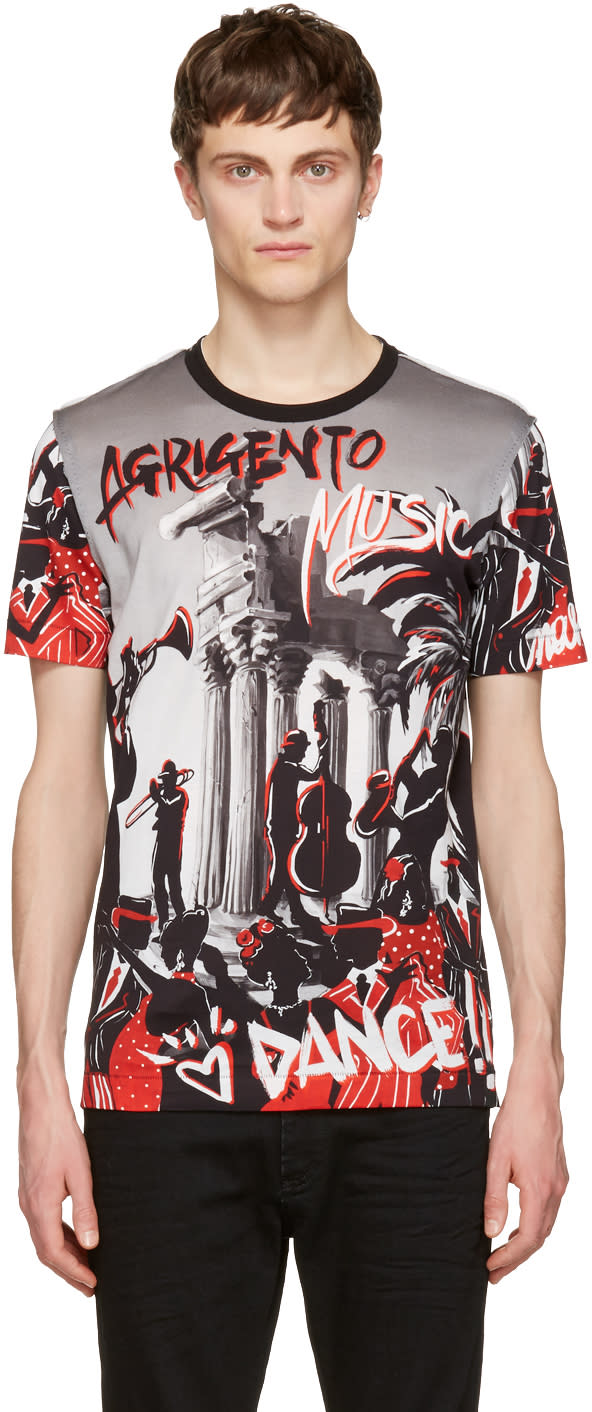 Dolce and Gabbana Black and Grey agrigento T-shirt