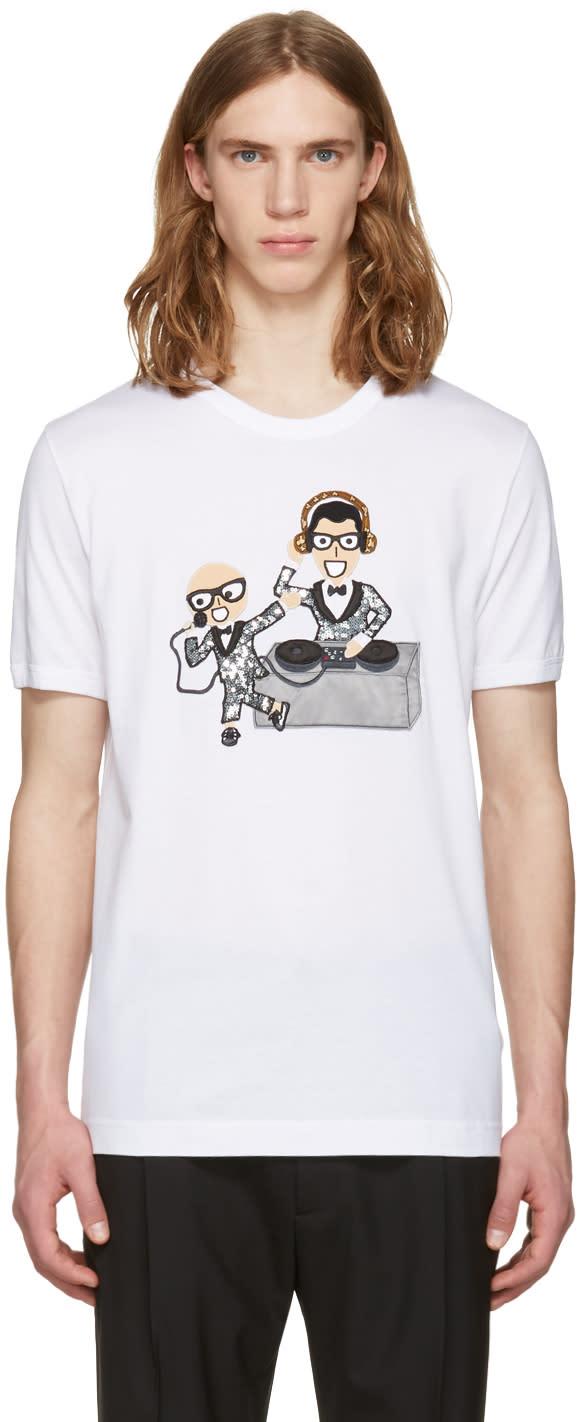 Dolce and Gabbana White Designers Dj T-shirt