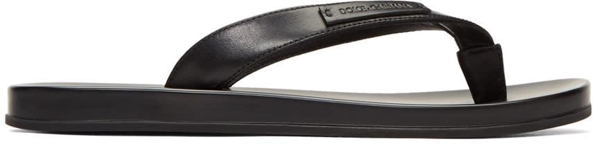 Dolce and Gabbana Black Leather Slide Sandals