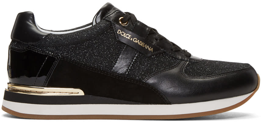 Dolce and Gabbana Black Glitter Panelled Sneakers