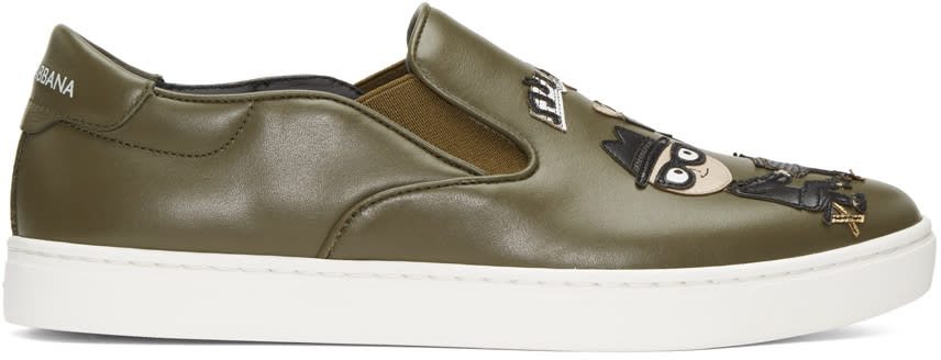 Dolce and Gabbana Green Designers Slip-on Sneakers
