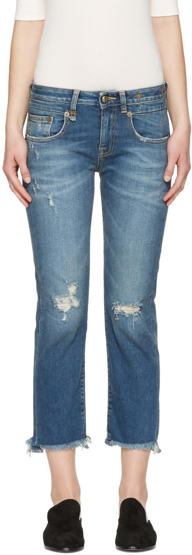 R13 Blue Frayed Straight Boy Jeans