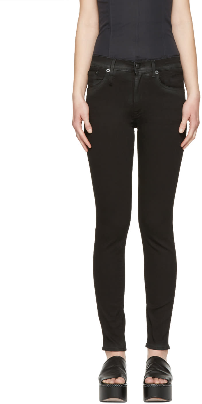 R13 Black Coated High-rise Jeans