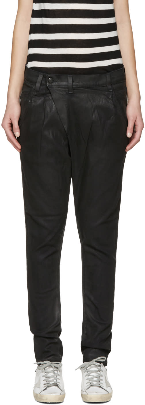R13 Black Waxed X-over Jeans