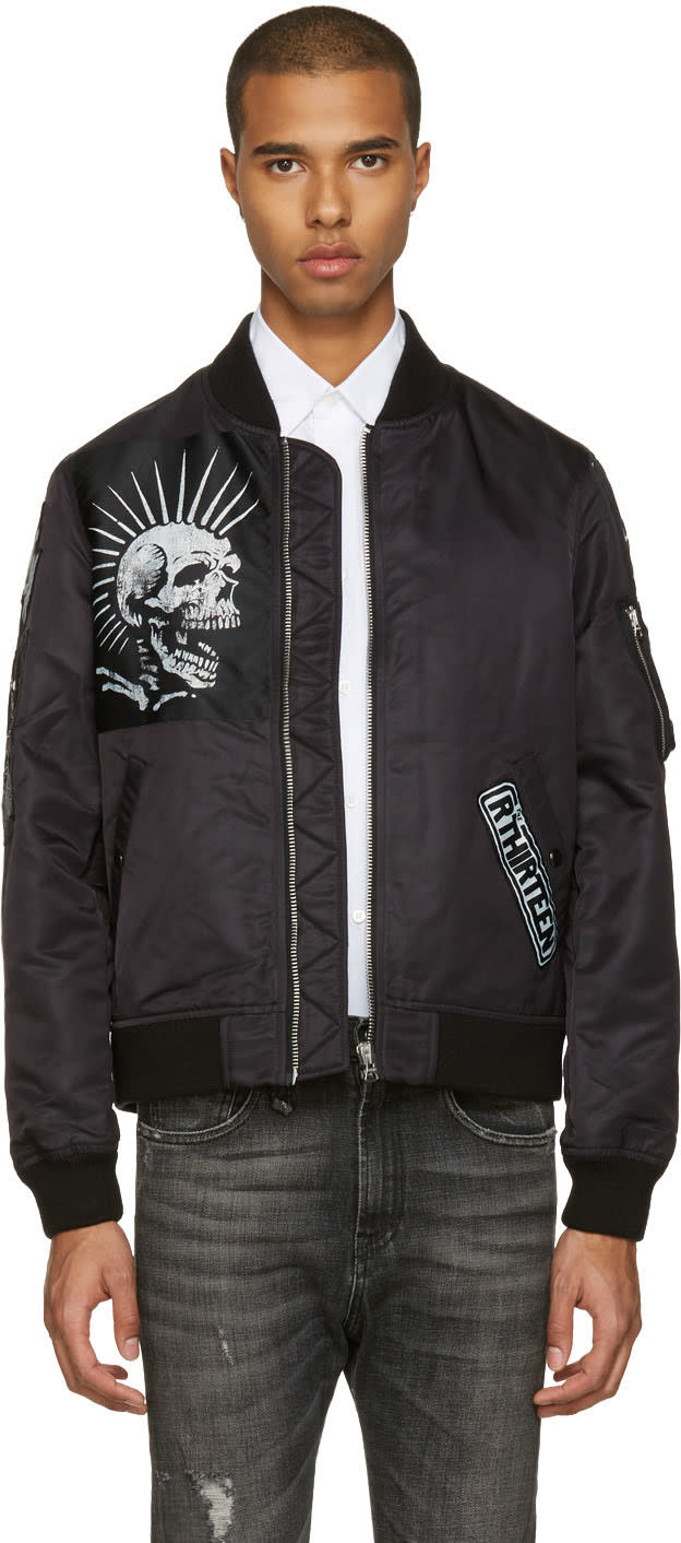R13 Black Patched Ma-1 Flight Jacket