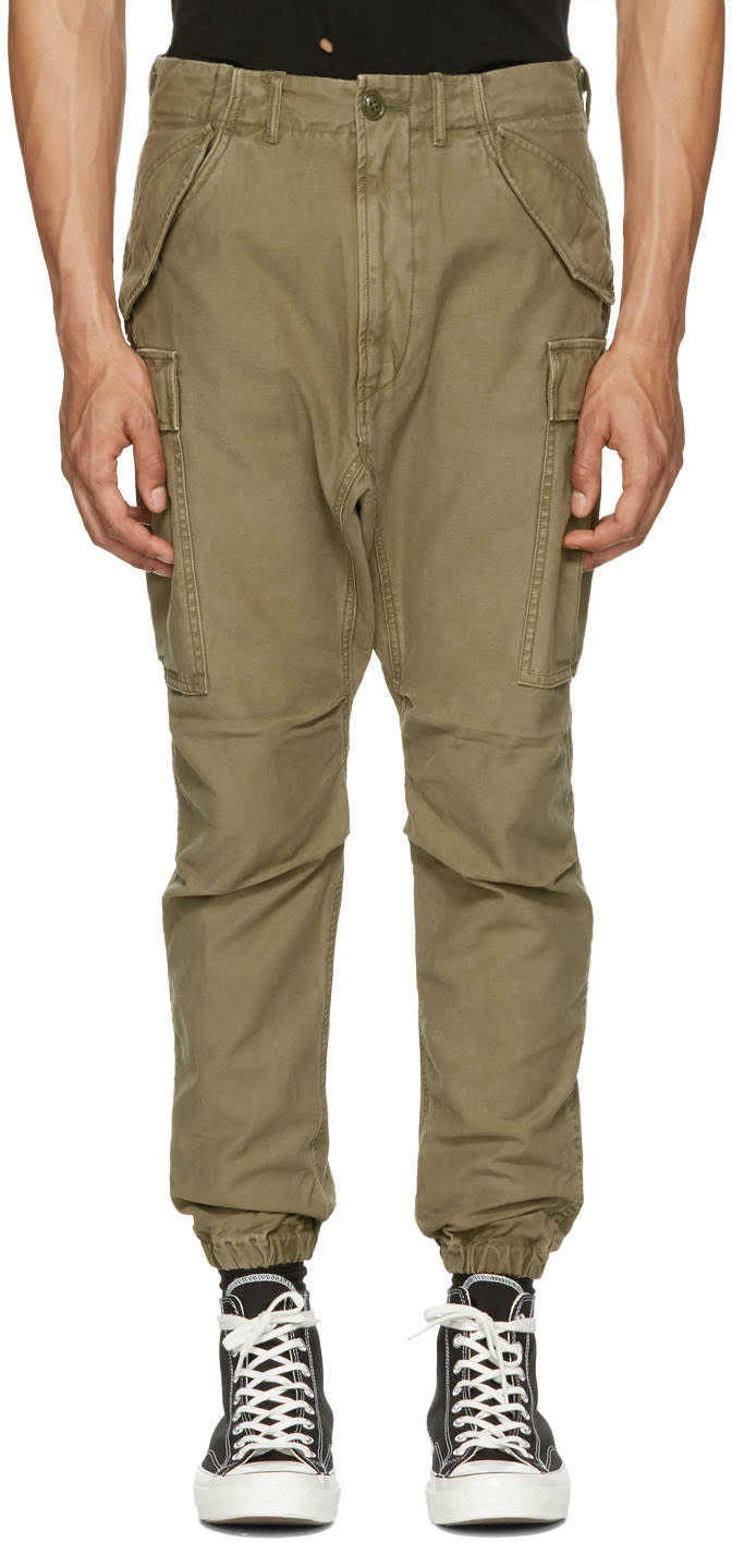 R13 Green Military Cargo Pants