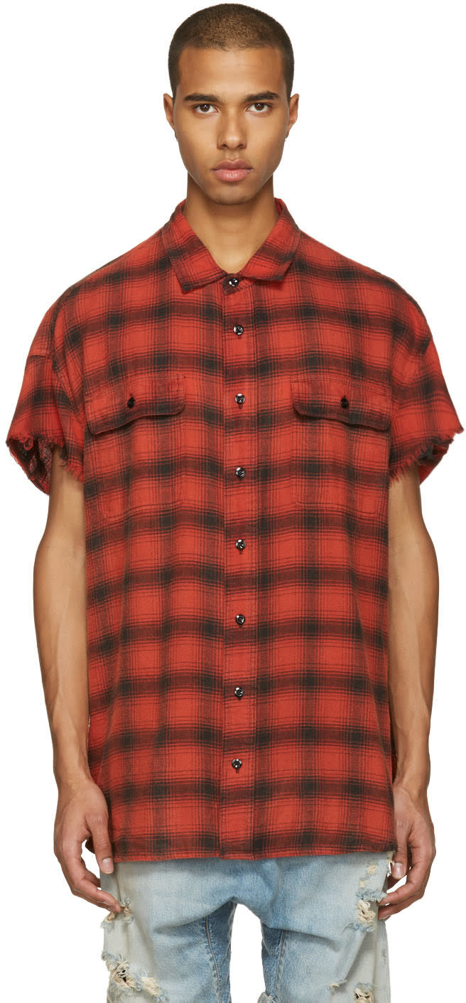 R13 Red Oversized Cut Off Shirt