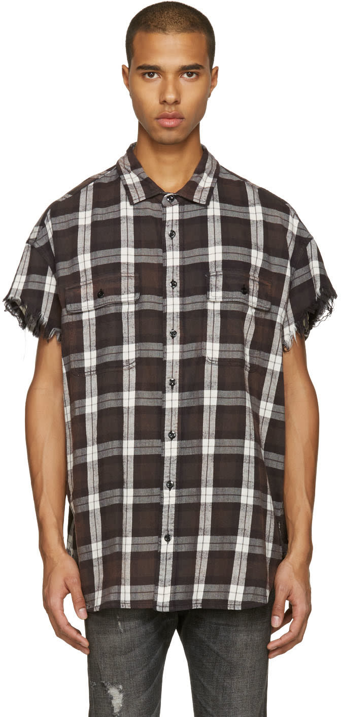 R13 Brown Oversized Cut Off Shirt