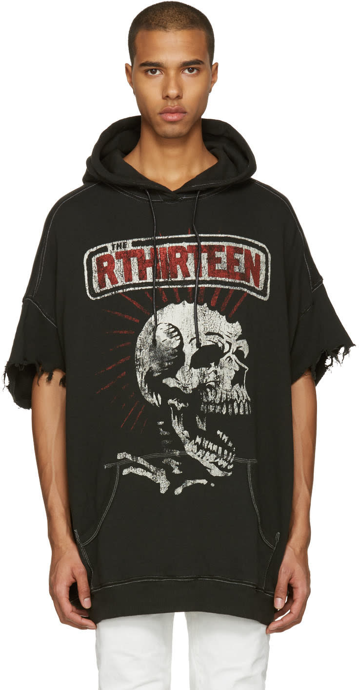 R13 Black Oversized Cut Off Skull Lukas Hoodie