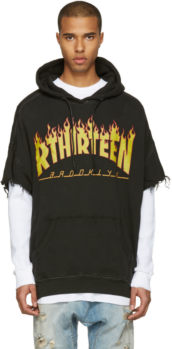 R13 Black Oversized Cut Off Logo Hoodie