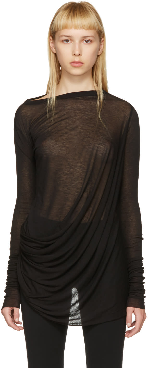 Rick Owens Lilies Black Draped T-shirt