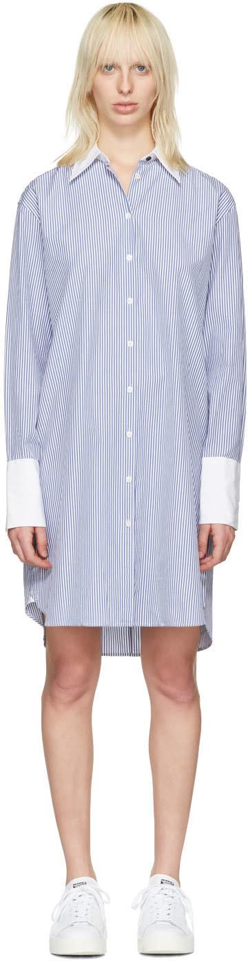 Rag and Bone Blue Striped Essex Shirt Dress