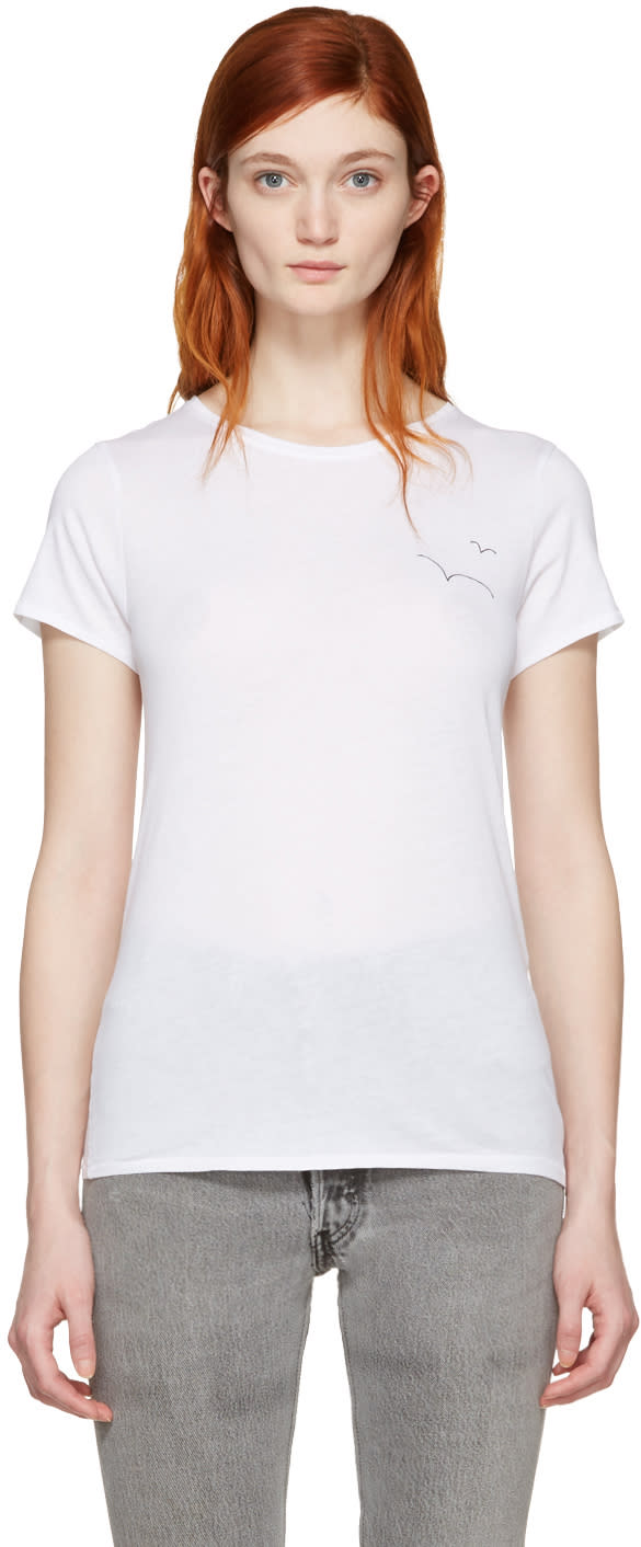 Rag and Bone Ssense Exclusive White Embroidered T-shirt