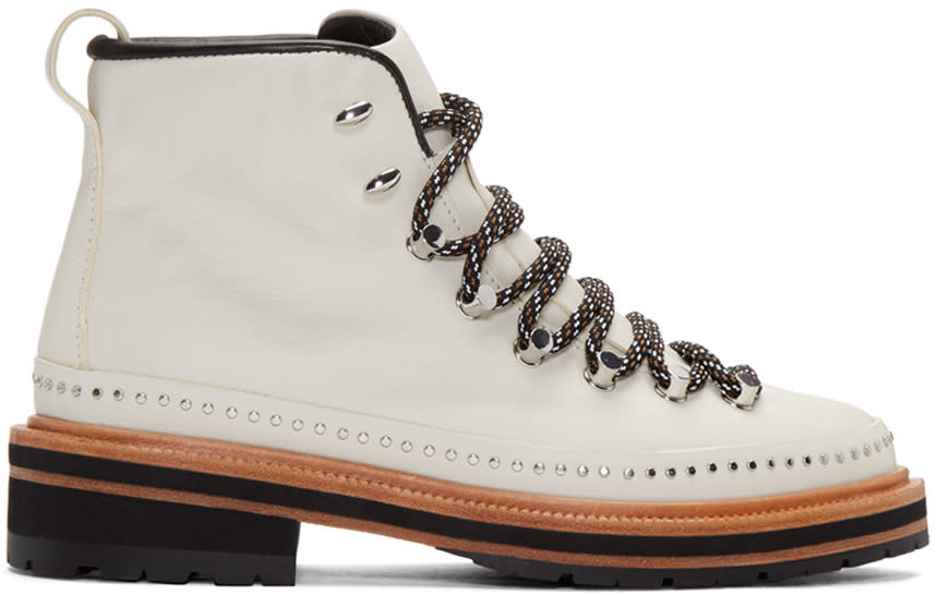 Rag and Bone White Leather Compass Lace-up Boots