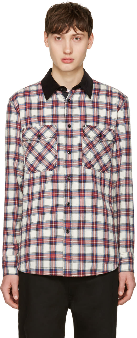 Rag and Bone Blue and Red Plaid Jack Shirt