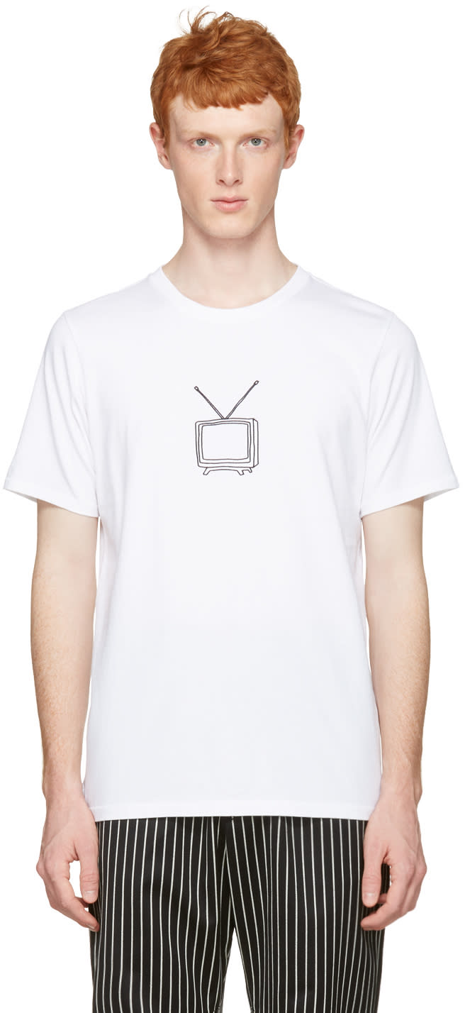 Rag and Bone White T.v. Embroidery T-shirt