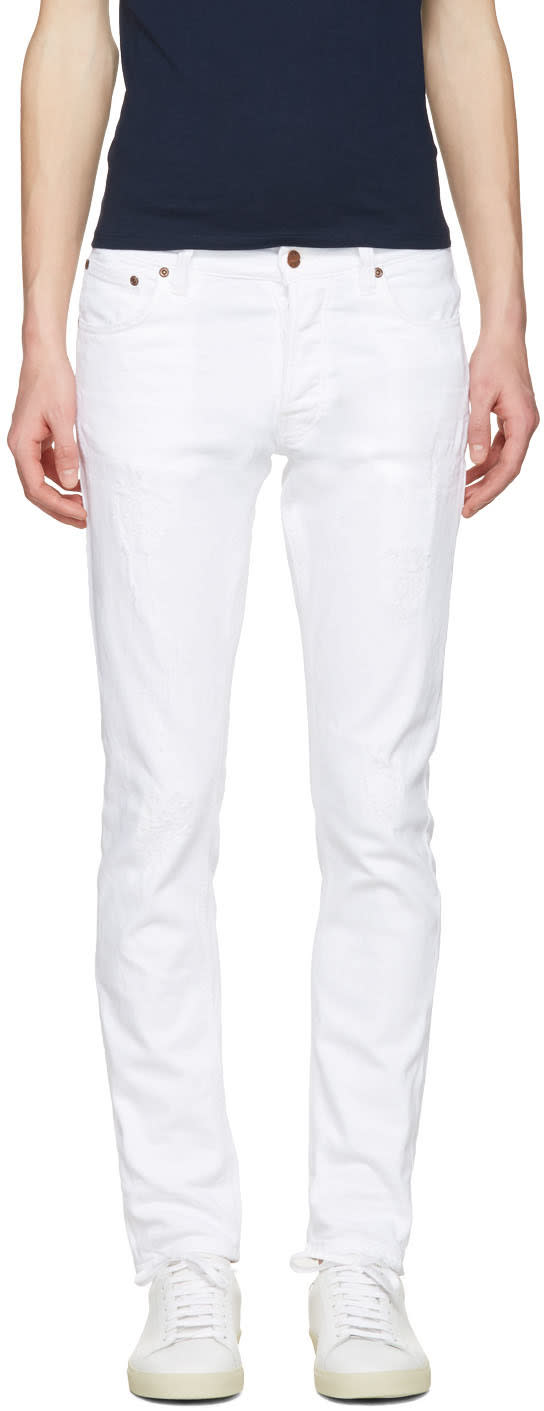 Nudie Jeans White Tilted Tor Jeans