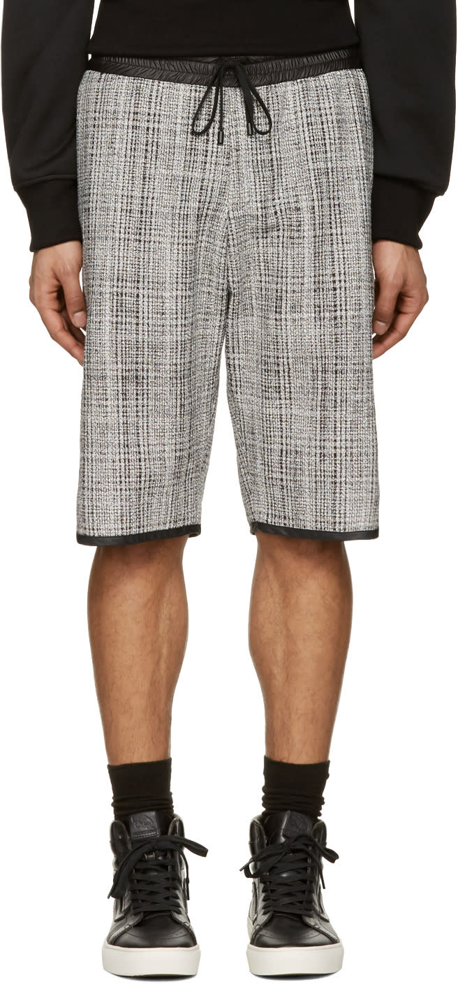 Public School Black and White Tweed Shorts