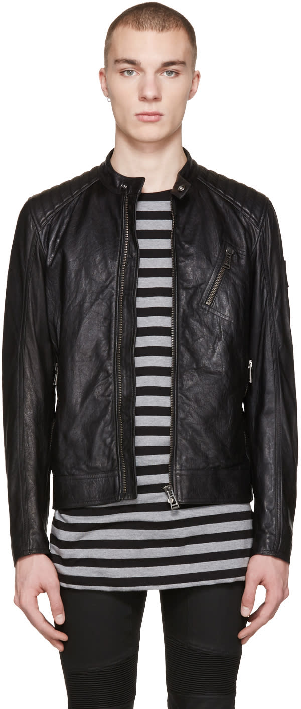 Belstaff Black Leather V Racer Jacket
