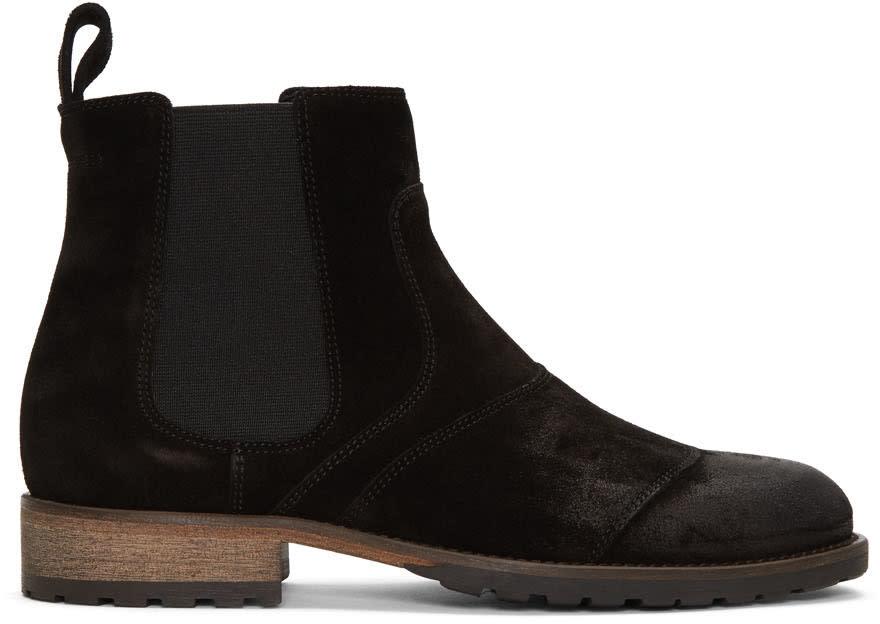 Belstaff Black Burnished Suede Lancaster Chelsea Boots