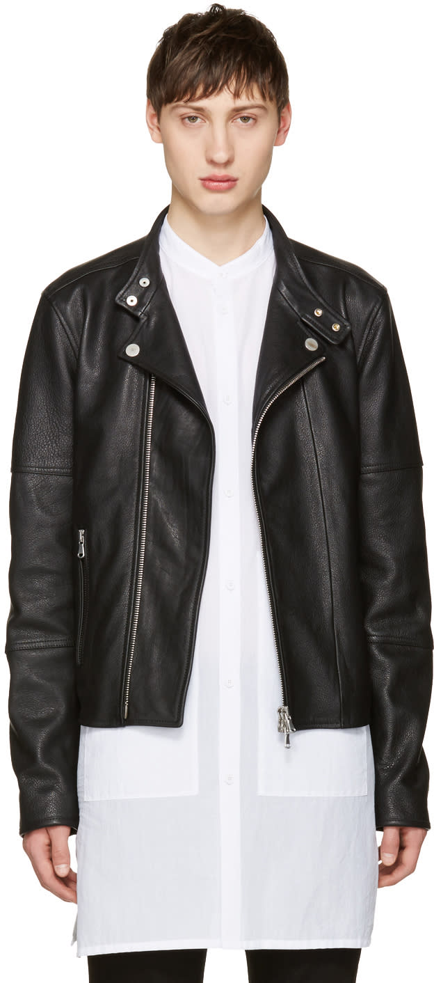 Image of Diesel Black Gold Black Leather Biker Jacket