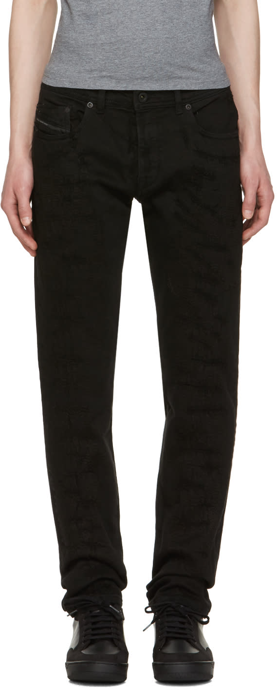 Image of Diesel Black Gold Black Distressed Type-253 Jeans