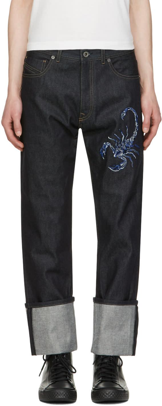 Diesel Black Gold Blue Scorpion Jeans