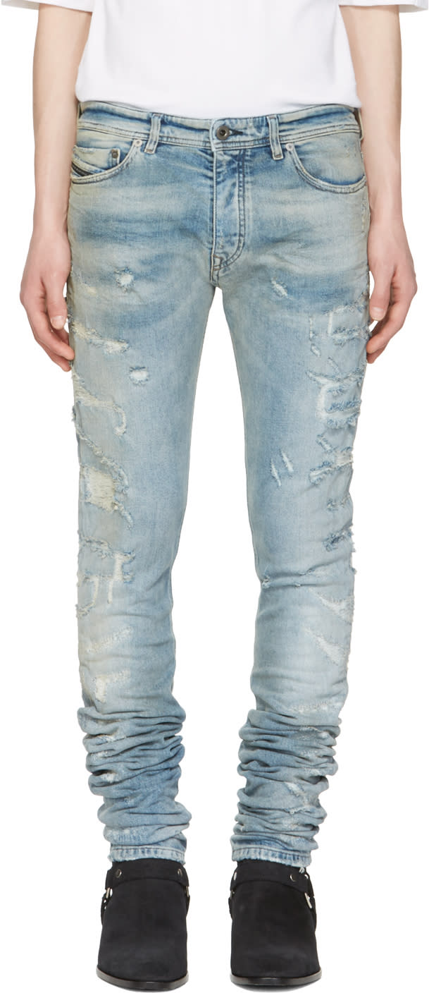 Diesel Black Gold Blue Distressed Sexy Jeans