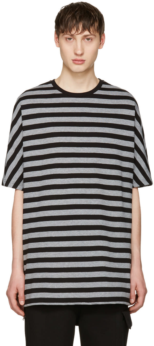 Image of Diesel Black Gold Black and Grey Striped T-shirt