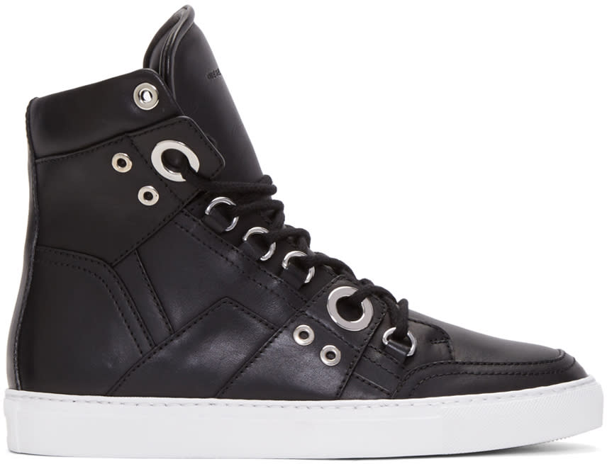 Image of Diesel Black Gold Black Leather High-top Sneakers
