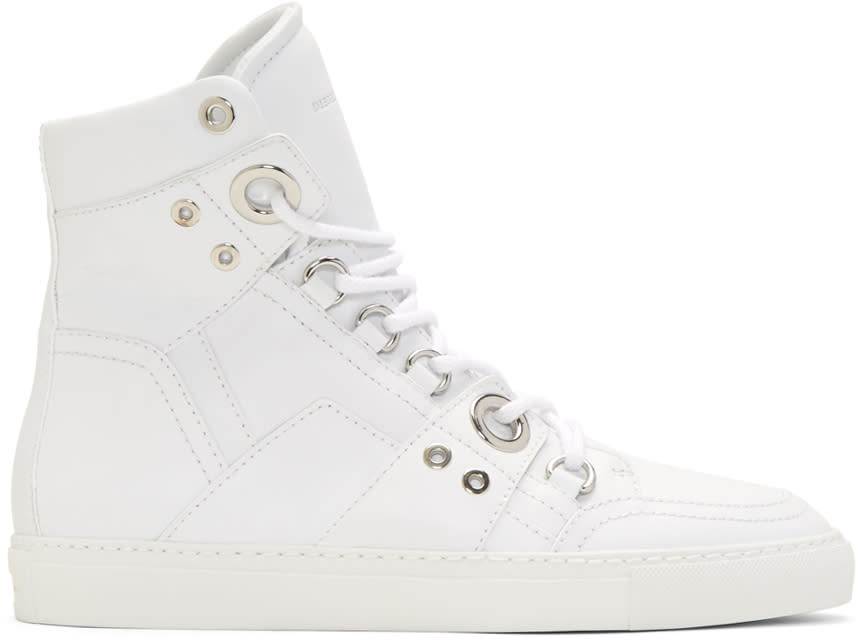 Diesel Black Gold White Leather High-top Sneakers