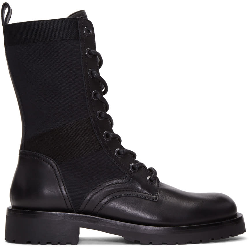 Image of Diesel Black Gold Black Leather High Boots