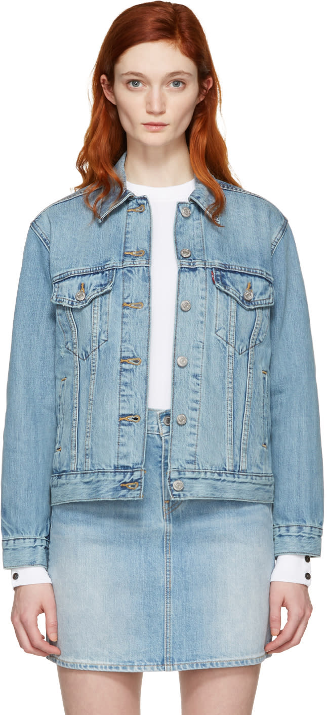 Levis Blue Denim Ex-boyfriend Trucker Jacket