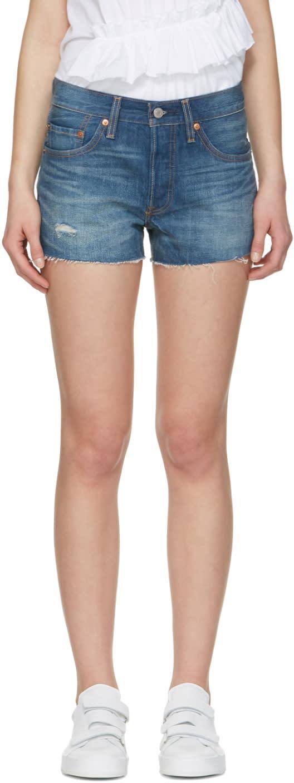Levis Blue Denim 501 Shorts