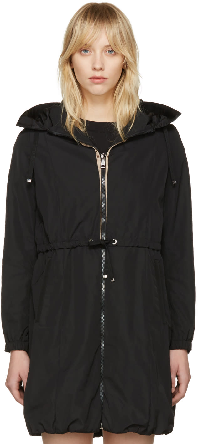 Moncler Black Tuile Hooded Coat