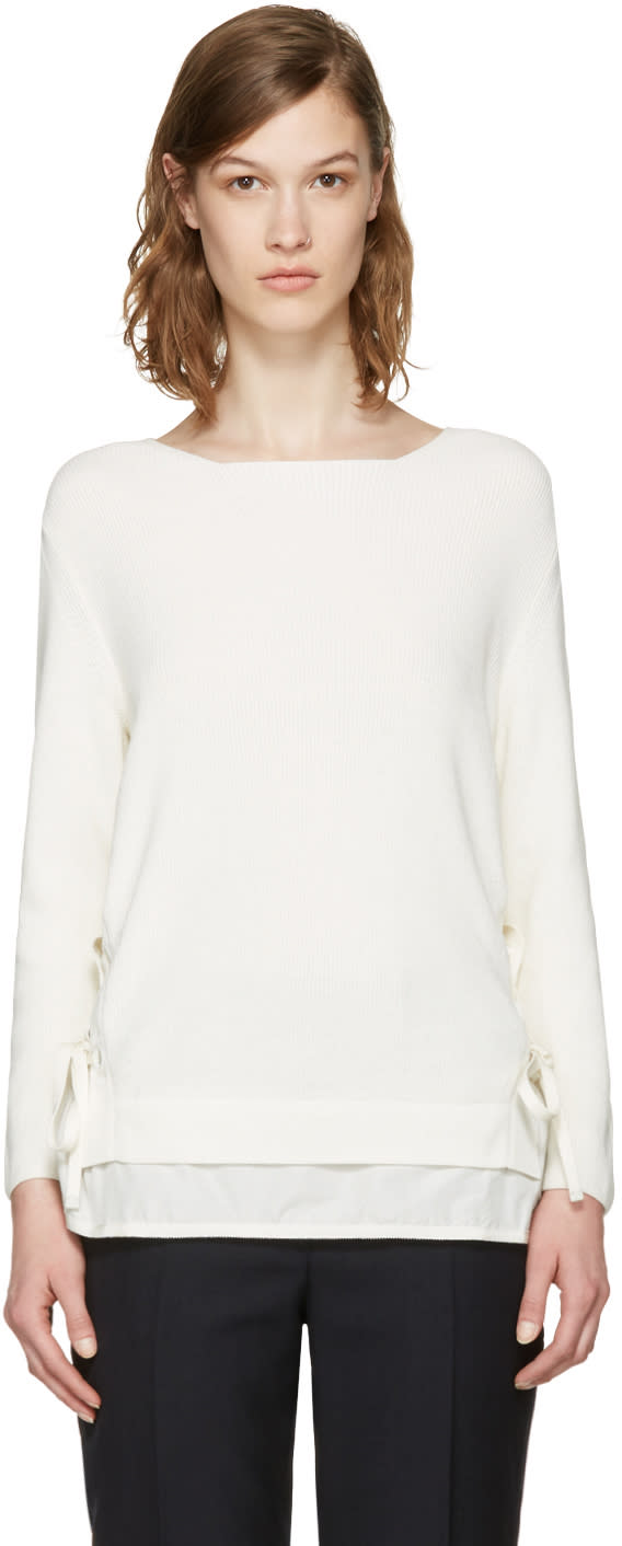 Moncler White Double Layer Sweater