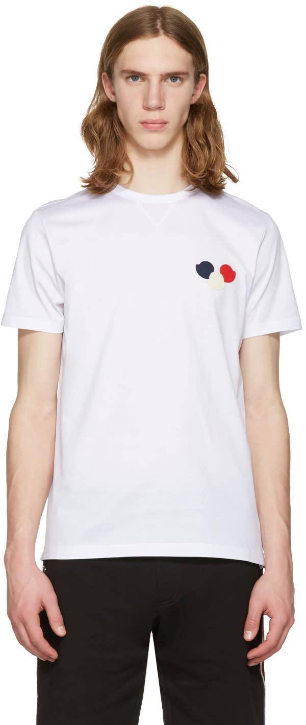 Moncler ホワイト エンブロイダ T シャツ