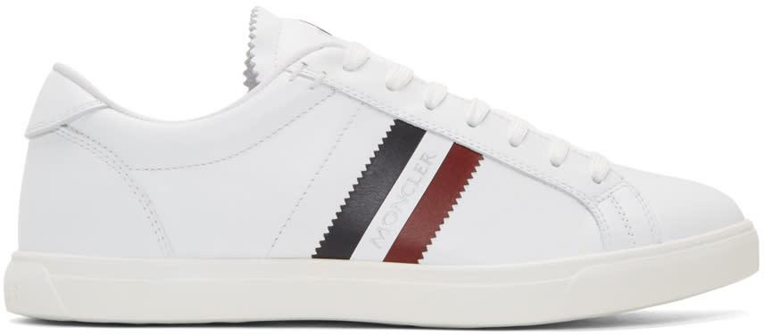 Moncler White Monaco Stripe Sneakers