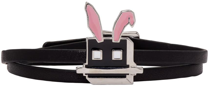Mcq Alexander Mcqueen Black Electro Bunny Mini Wrap Bracelet