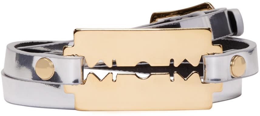 Mcq Alexander Mcqueen Silver Razor Triple Wrap Bracelet