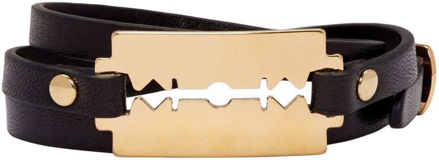 Mcq Alexander Mcqueen Black Razor Triple Wrap Bracelet
