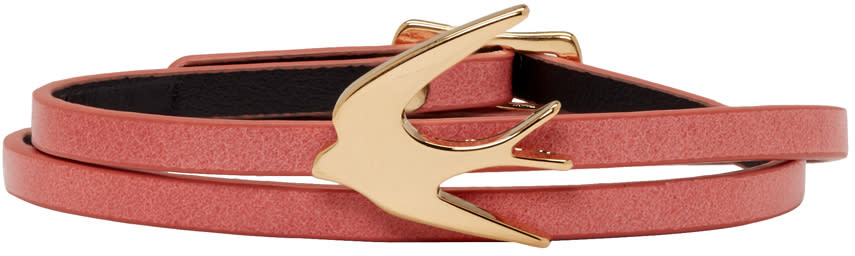 Mcq Alexander Mcqueen Pink Swallow Mini Wrap Bracelet