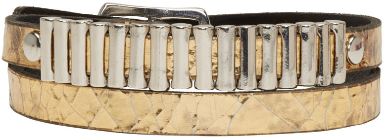 Mcq Alexander Mcqueen Gold Mini Bullet Wrap Bracelet