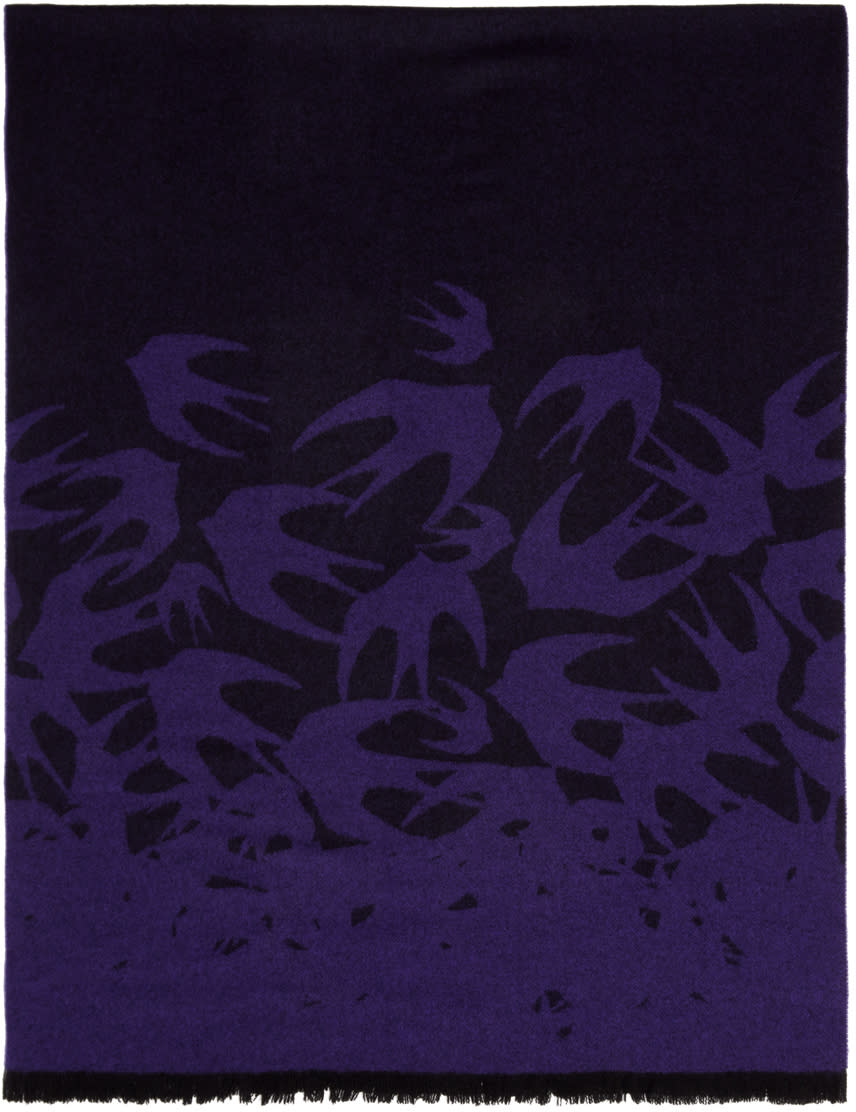 Mcq Alexander Mcqueen Purple Wool Swallows Scarf
