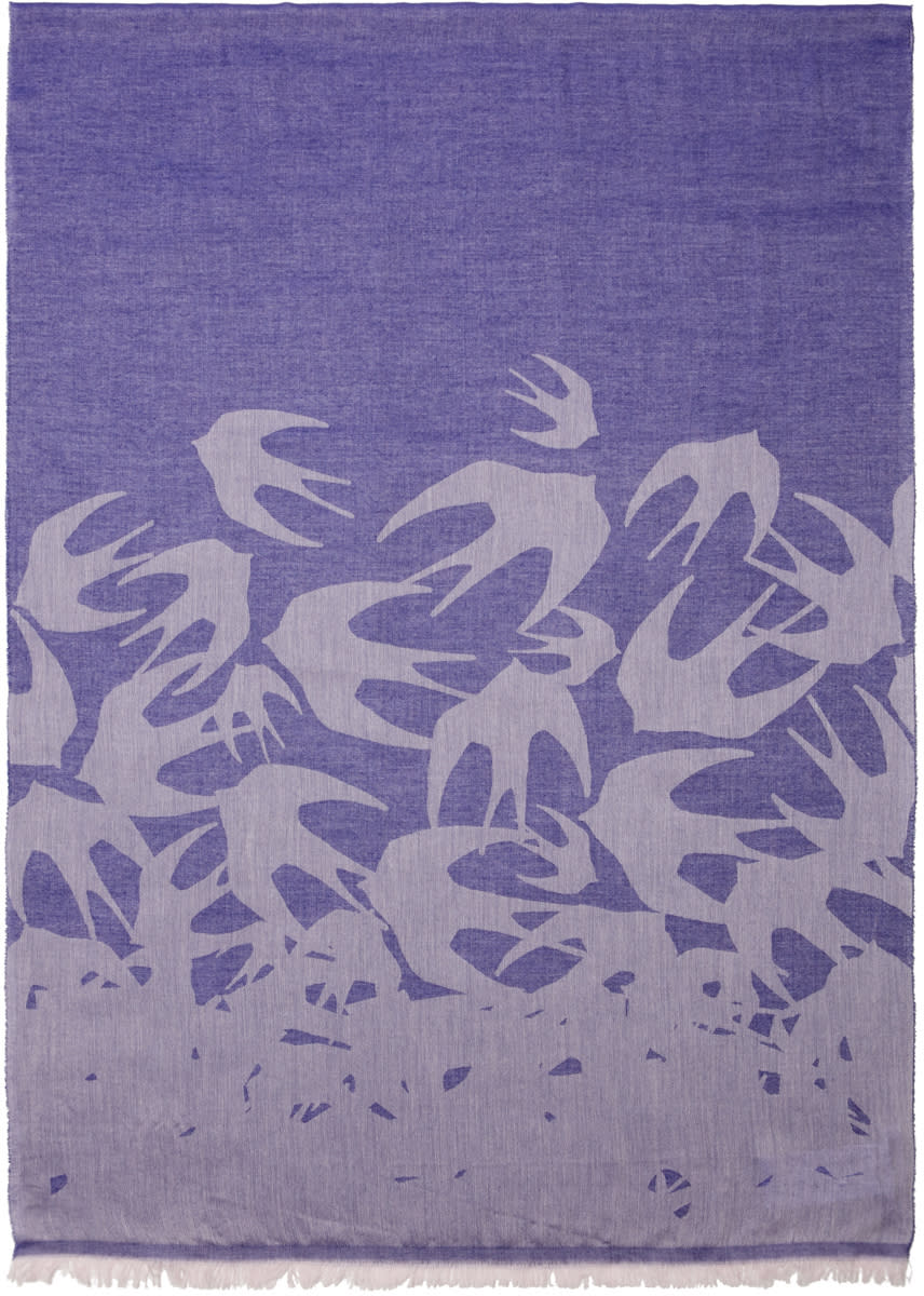 Mcq Alexander Mcqueen Purple Swallows Scarf
