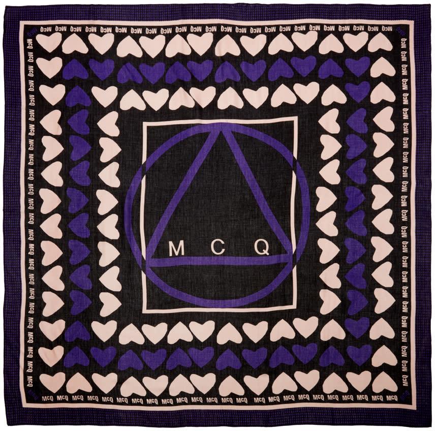 Mcq Alexander Mcqueen Black Hearts Scarf