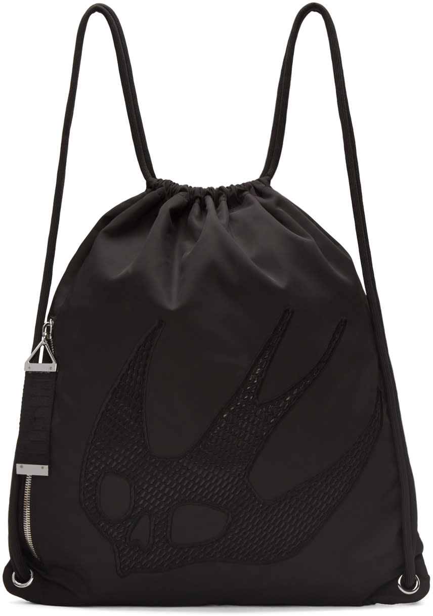 Mcq Alexander Mcqueen Black Nylon Embroidered Rucksack
