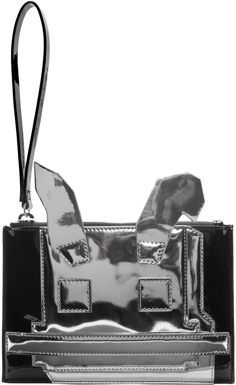 Mcq Alexander Mcqueen Black and Silver Electro Bunny Pouch