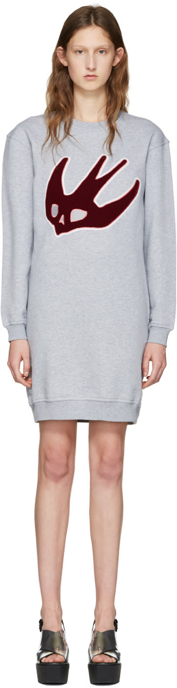 Mcq Alexander Mcqueen Grey Varsity Swallow Dress